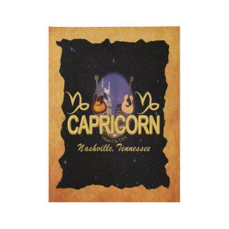 Poster En Bois Affiche en bois de zodiaque de Capricorne de