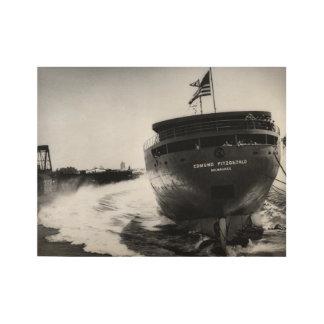 Poster En Bois Lançant le cru d'Edmund Fitzgerald maritime