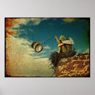 Poster Enfant à ailes jouant avec la montre de poche