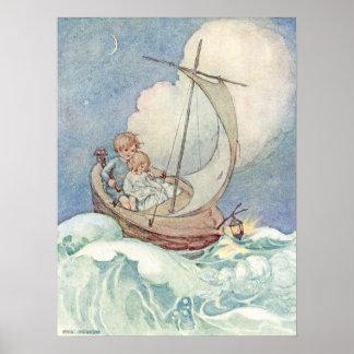 Poster Enfants vintages dans le bateau par Anne Anderson