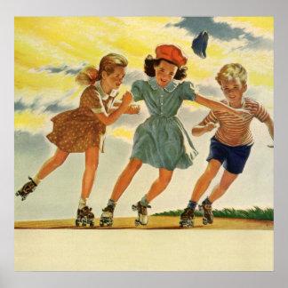 Poster Enfants vintages, patinage de rouleau d'amusement