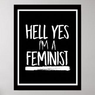Poster Enfer oui je suis un féministe --  blanc -