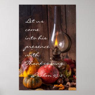 Poster Entrez dans sa présence avec le thanksgiving, le