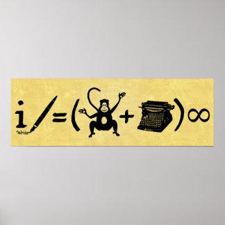 Poster Équation drôle de machine à écrire de singe