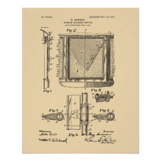 Poster Essuie-glace, Mary Anderson, inventeur