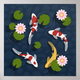 Poster Étang à poissons de Koi de Japonais