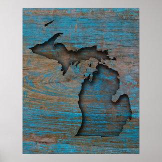 Poster État du Michigan découpée par bois rustique
