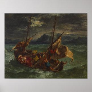 Poster Eugene Delacroix - Christ sur la mer de la Galilée