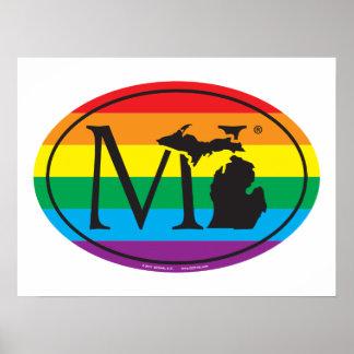 Poster Euro de fierté d'état de LGBT : MI Michigan