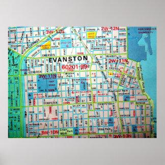 Poster EVANSTON, affiche vintage de carte de l'IL