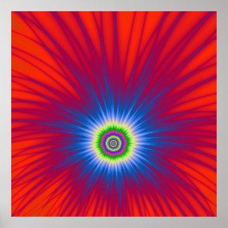 Poster Explosion bleue d'affiche sur le rouge