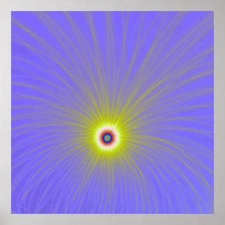 Poster Explosion de couleur en affiche jaune et bleue