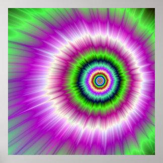 Poster Explosion de couleur en affiche rose et verte