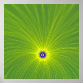 Poster Explosion de couleur en affiche verte et jaune