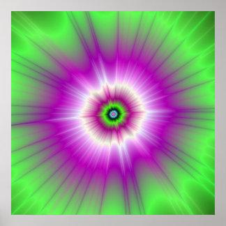 Poster Explosion en affiche pourpre et verte