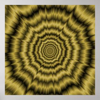 Poster Explosion rechignante d'oeil d'affiche en or