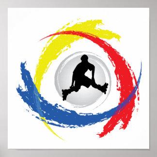 Poster Faire du roller l'emblème tricolore