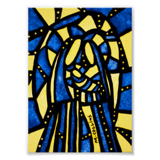 Poster Famille sainte moderne bleue et jaune