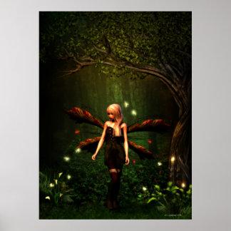 Poster Fée et lucioles de forêt