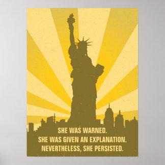 Poster Féministe elle a été avertie qu'elle a persisté