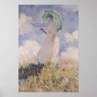 Poster Femme de Claude Monet | avec le parasol tourné