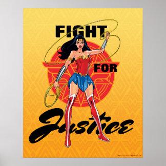 Poster Femme de merveille avec le lasso - combat pour la