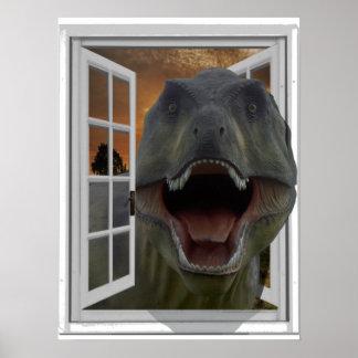 Poster Fenêtre de faux d'effet d'image du dinosaure 3D de