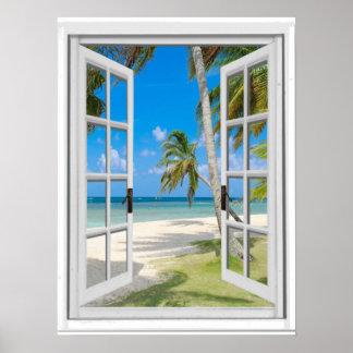 Poster Fenêtre tropicale de faux de vue d'océan de plage