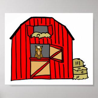 Poster Ferme équine de scène rouge de grange