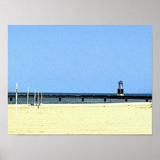 Poster Feu de balisage du lac Michigan