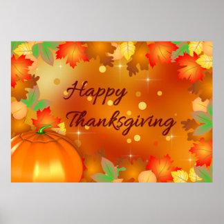 Poster Feuille d'automne coloré - affiche de thanksgiving
