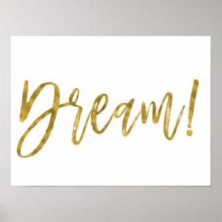 Poster Feuille d'or rêveuse et mot inspiré blanc