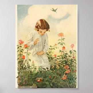Poster Fille 1908 de cru au jeu dans le jardin
