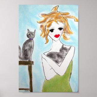 Poster Fille avec les chats gris