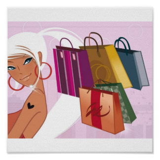 Poster Fille d'achats