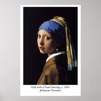 Poster Fille de Johannes Vermeer avec une boucle