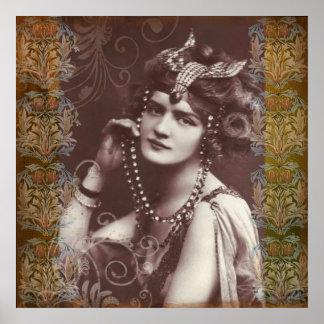 Poster Fille de partie vintage sur l'affiche victorienne