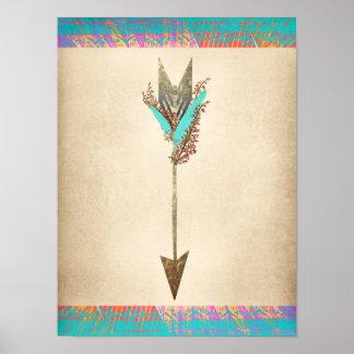 Poster Flèche de Bohème florale rustique