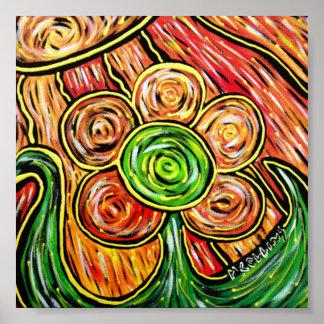 Poster Fleur abstraite colorée