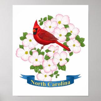 Poster Fleur cardinale de cornouiller d'oiseau d'état de