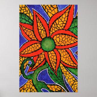 Poster Fleur colorée de peinture moderne