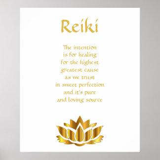 Poster Fleur de Lotus d'or de Reiki
