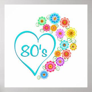 Poster fleur du coeur 80s