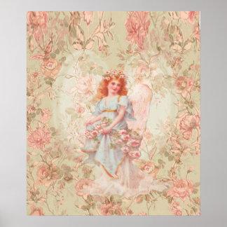 Poster Fleurs et collage de cru d'ange