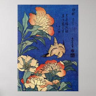 Poster Fleurs et un oiseau