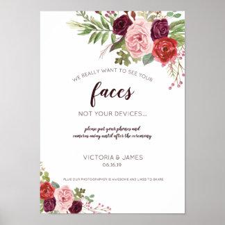 Poster Fleurs romantiques débranchées du signe | de