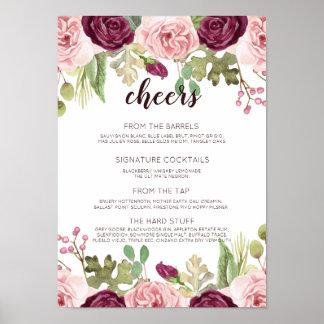 Poster Fleurs romantiques épousant le menu de barre