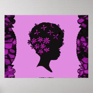 Poster Fleurs vintages dans l'Afro