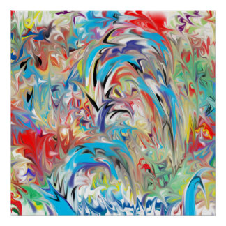 Poster Fontaine abstraite de couleur