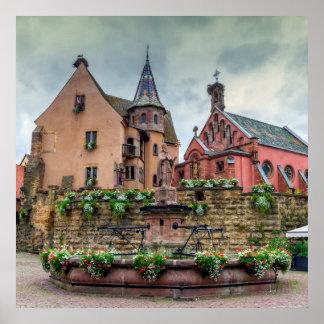 Poster Fontaine de Saint-Léon dans Eguisheim, Alsace,
